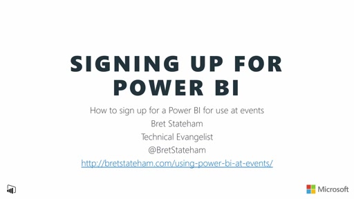 Signing up for Power BI