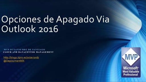 Opciones de Apagado en Windows 10 con Outlook 2016