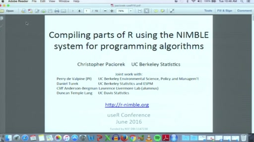Compiling parts of R using the NIMBLE system for programming algorithms