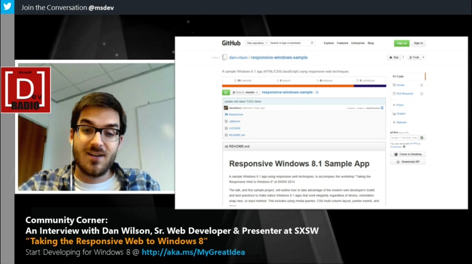 "Microsoft DevRadio: Community Corner - An Interview with Dan Wilson and ""Taking the Responsive Web to Windows 8"""