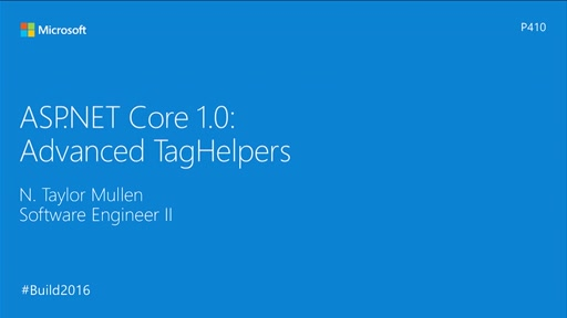 ASP.NET 1.0 Core: Advanced TagHelpers