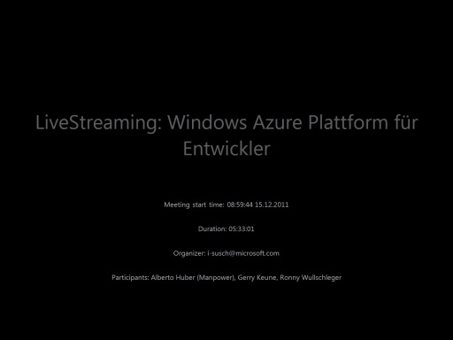 MSDN TechTalk und LiveStreaming: Windows Azure Plattform für Entwickler