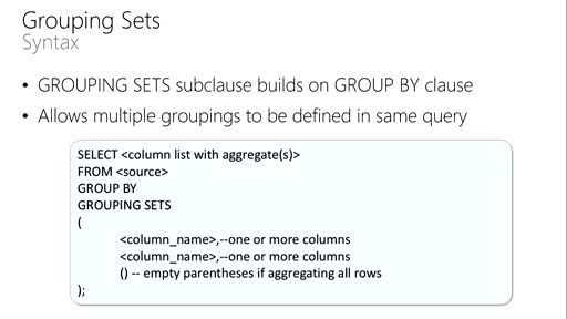 Querying with Transact-SQL: (08) Grouping Sets and Pivoting Data