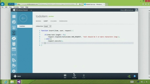 Windows Store app - Validate and Modify Data with Server Scripts in Windows Azure Mobile Services
