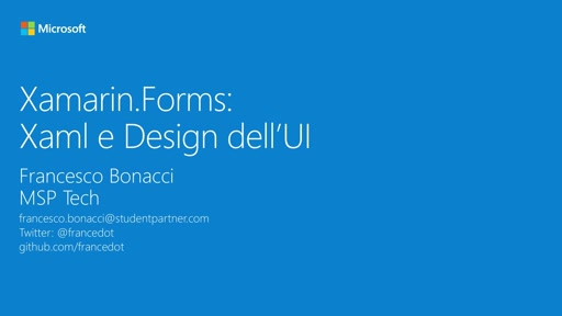 Modulo 8 || Xamarin.Forms: Design dell'UI