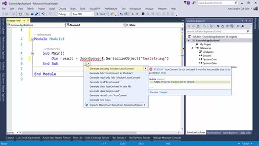VS 2015 Update 3: Add NuGet packages as a quick fix in the code editor's Light Bulb