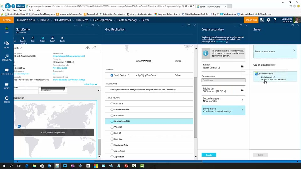 Enable SQL Database Geo Replication in Azure Portal