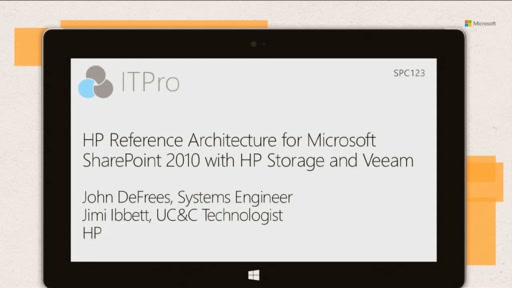 HP: HP Reference Architecture for Microsoft SharePoint 2010 data protection with HP Storage and Veeam