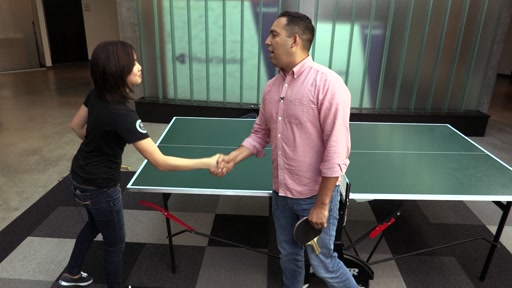 Seth plays against USA Table Tennis Olympian, Erica Wu