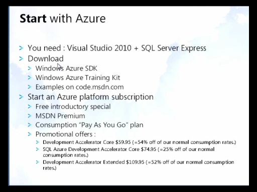 MSDN Live Meeting : The Windows Azure Platform : Overview and New Features
