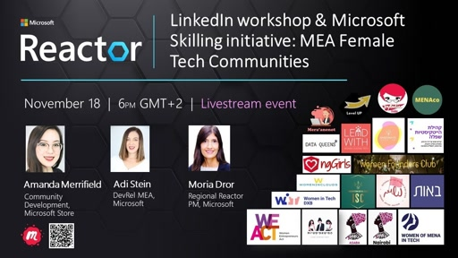 LinkedIn workshop & MS Skilling initiative: MEA Female Tech Communities ​