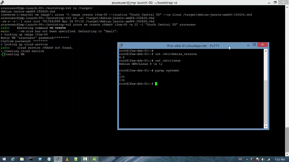 Use bootstrap-vz to create an Azure-ready Debian 8 (jessie) Linux image