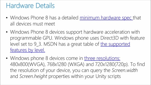 Porting Unity Games to Windows 8.1 and Windows Phone: (05) Supporting Windows Phone