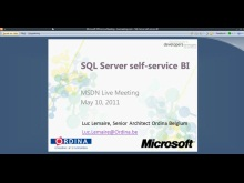 MSDN Live Meeting - SQL Server self-service BI