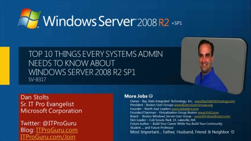Top 10 Things Every Systems Admin Needs to Know about Windows Server 2008 R2 SP1