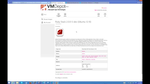 Setting up a Ruby stack on Windows Azure using Bitnami, VM Depot