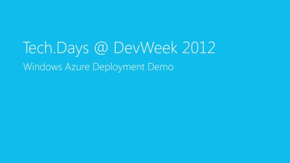 Windows Azure Deployment Demo