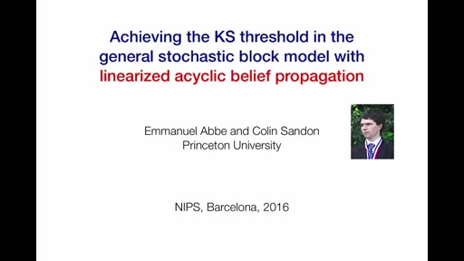 Achieving the KS threshold in the general stochastic block model with linearized acyclic belief propagation