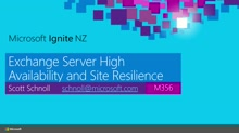 Exchange Server High Availability and Site Resilience