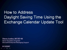 DST: How to Address Daylight Saving Time in Exchange Server by Using the Exchange Calendar Update To
