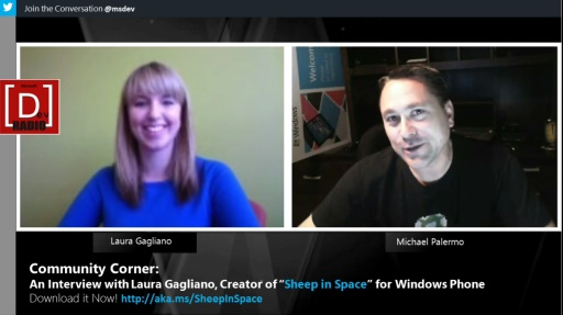"""Microsoft DevRadio: Community Corner - An Interview with Laura Gagliano, Creator of """"Sheep in Space"""" for Windows Phone"""
