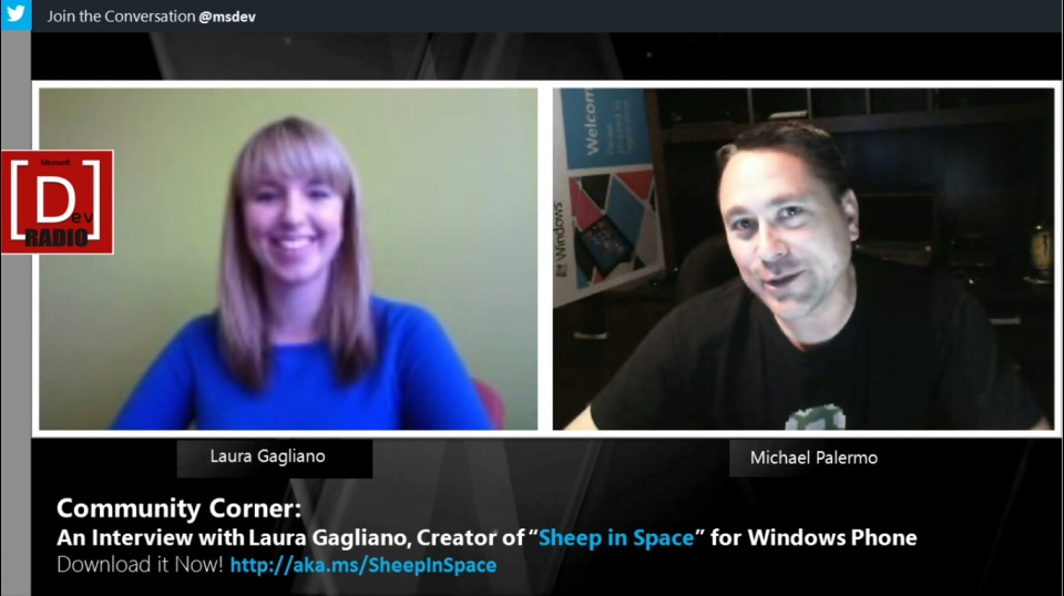 "Microsoft DevRadio: Community Corner - An Interview with Laura Gagliano, Creator of ""Sheep in Space"" for Windows Phone"