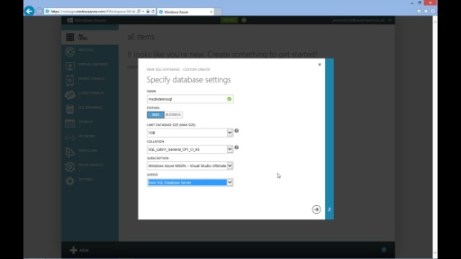 Tutorial - Windows Azure SQL Database - Teil 2/4 Erstellen einer Windows Azure SQL Database