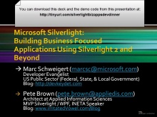 US Public Sector Developer Dinner for Partners - Silverlight Business Applications
