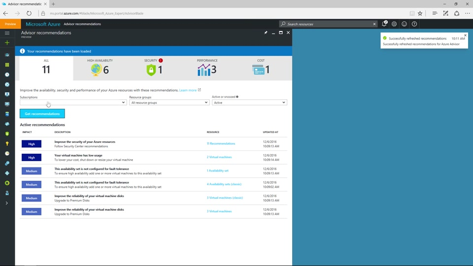 Azure Advisor - your personalized guide to optimal resource configuration