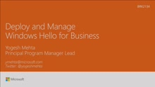 Deploy and manage Windows Hello for Business