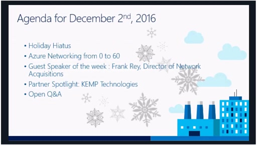 Azure Networking Fridays 12/2/2016