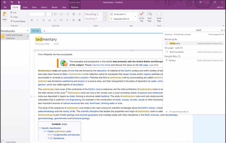 onenote section template - section 4 onenote search and interface features