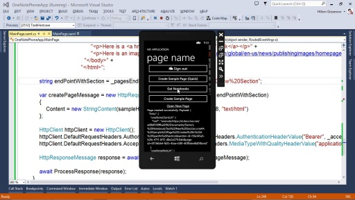 Create a Page in a specific section: Windows Phone Edition