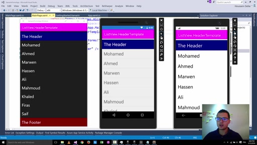 Using HeaderTemplate with Xamarin Forms