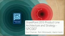 SharePoint 2013 Product Line Architecture and Strategy