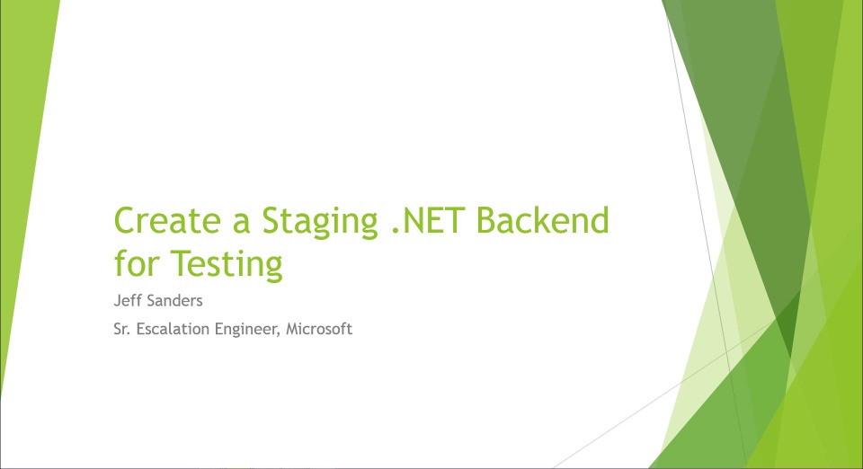 Create a Staging .NET Backend for Testing and Developing Azure Mobile Services