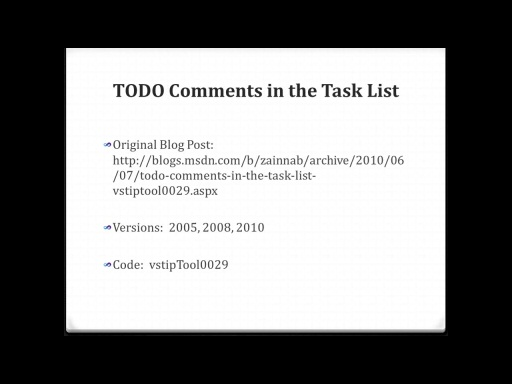 TODO Comments in the Task List