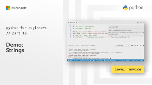 Python for Beginners [10 of 44] Demo: Strings
