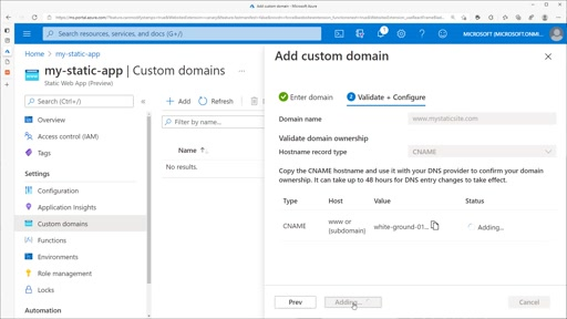 Configuring a custom domain with Azure Static Web Apps