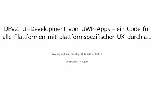Dev: UI-Development von UWP-Apps