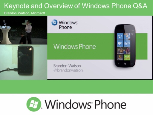 Keynote and Overview of Windows Phone