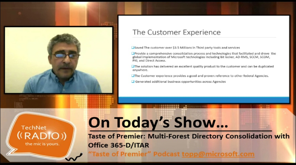 TechNet Radio: Taste of Premier - Multi-Forest Directory Consolidation with Office 365-D/ITAR