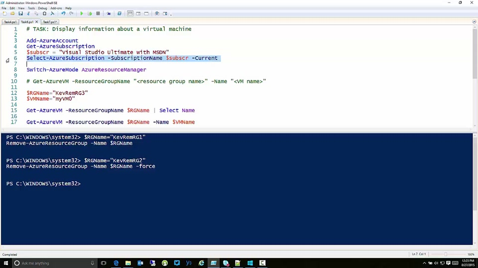 Displaying Information about a Virtual Machine in Microsoft Azure with PowerShell