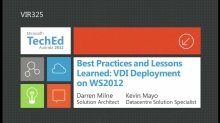 Best Practices and Lessons Learned: VDI Deployment on WS2012