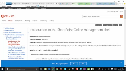 Uso de PowerShell con SharePoint Online