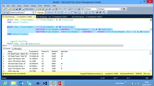 Querying with Transact-SQL: (05) Using Functions and Aggregating Data