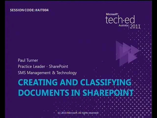 Creating, classifying and documents SharePoint 2010
