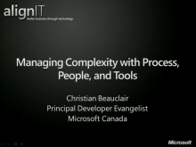 Align IT Tour 2011: Development Managers: Session 1 of 3: Managing Complexity with Process, People and Tools