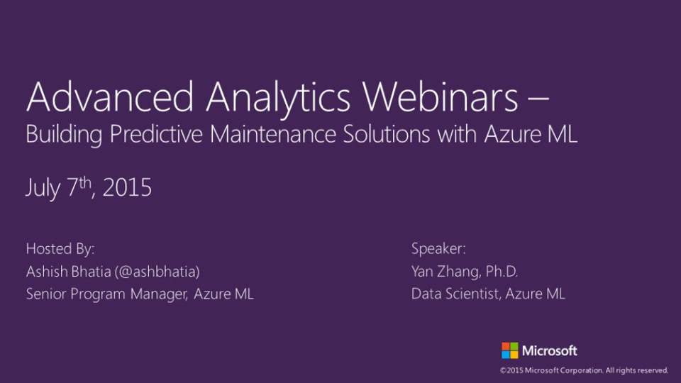 Building Predictive Maintenance Solutions with Azure Machine Learning