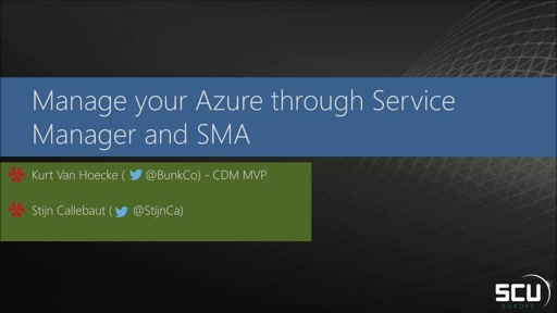 Manage your Azure through Service Manager and SMA